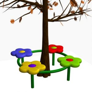 4 Person Flower Tree Bench
